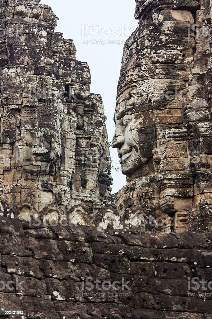 Giant face at Bayon Temple, Angkor Wat stock photo