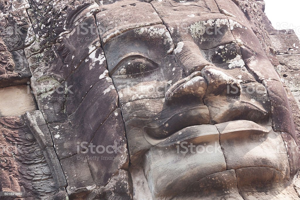 Giant face at Bayon Temple stock photo