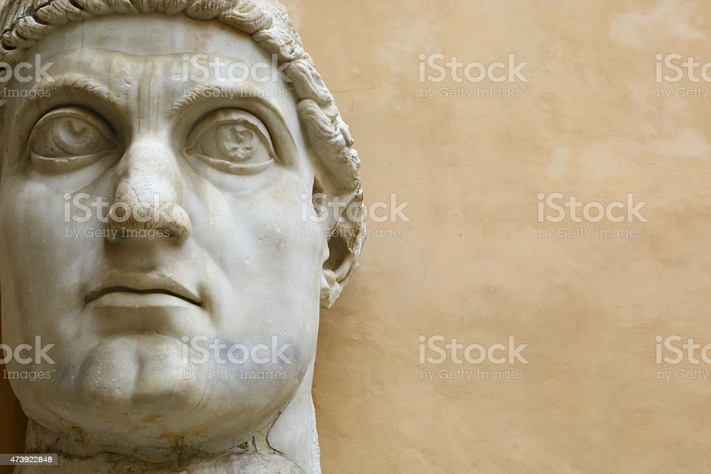 Giant face of Emperor Costantine in Rome stock photo