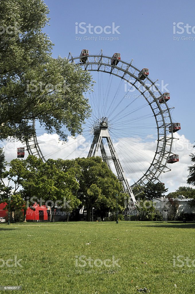 Giant Ferris Wheel in Prater Park, Vienna royalty-free stock photo
