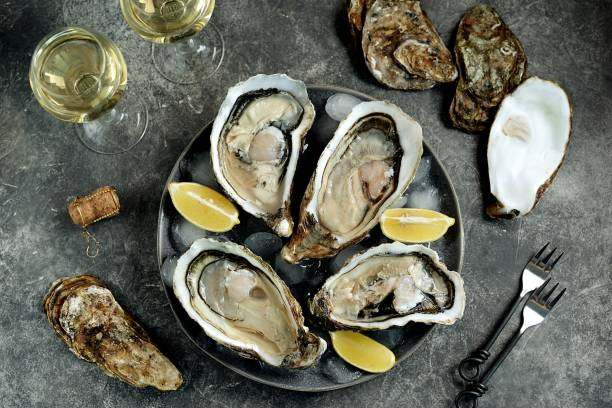 Giant fresh uncooked oysters in a shell with lemon on ice. Healthly food. stock photo