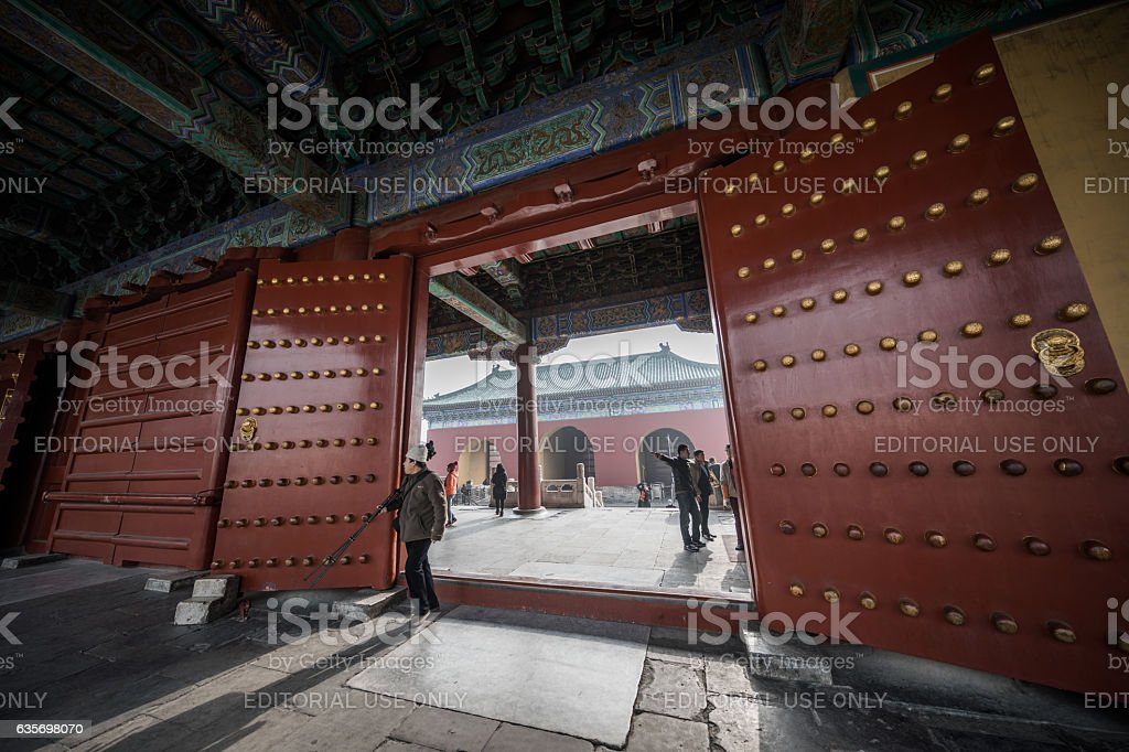 Giant gate doors in Temple of Heaven, Beijing, China royalty-free stock photo