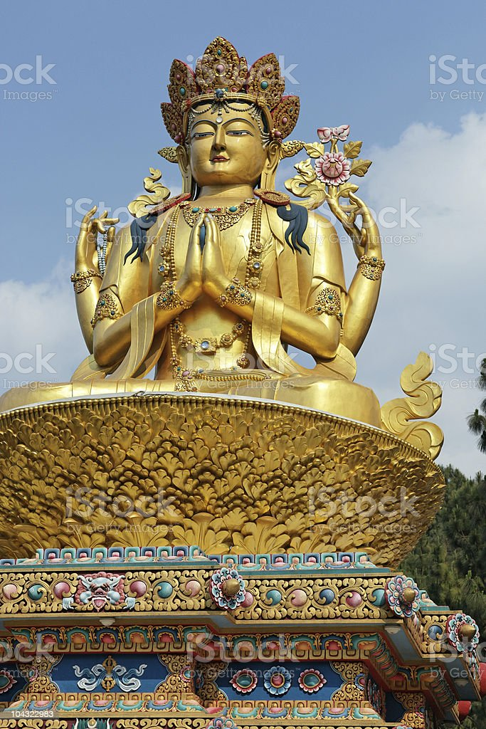 Giant gold  sculpture of Shiva royalty-free stock photo