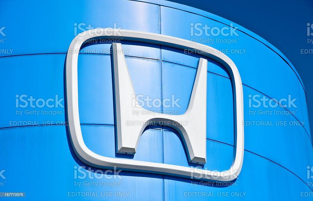 Giant Honda Logo On Dealership Storefront stock photo