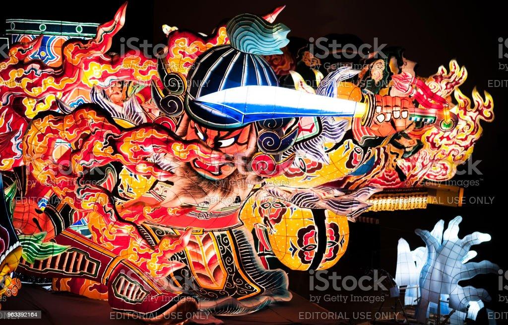 Jätte tänd lykta Nebuta lykta flötet av Nebuta Matsuri i Nebuta Warasse, Aomori, Japan - Royaltyfri Design Bildbanksbilder