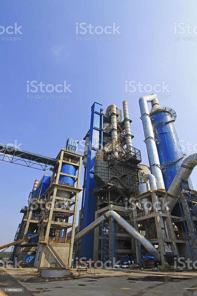 giant mechanical facilities in a cement factory royalty-free stock photo