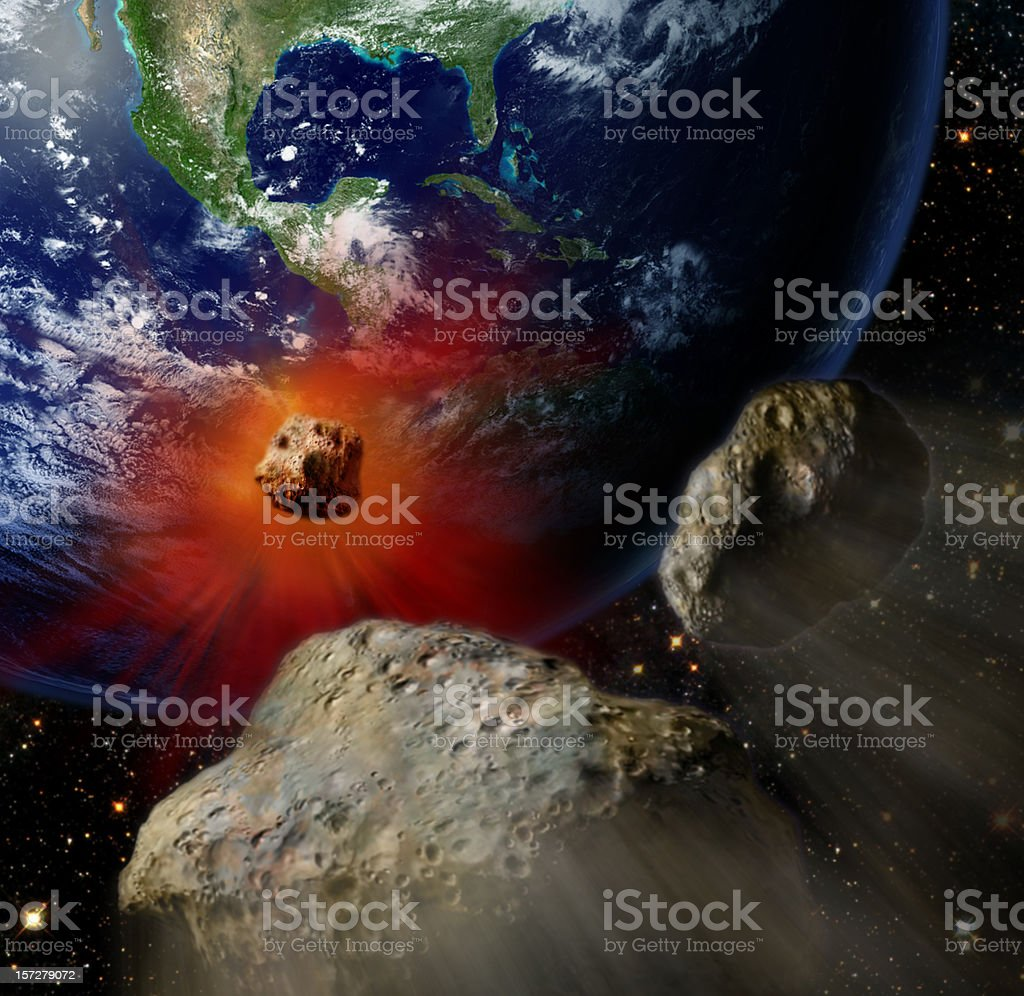 giant meteors from space  crashing Earth color stock photo