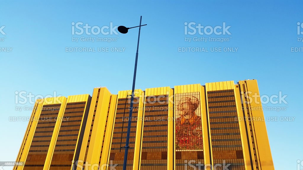 Giant mural of Nelson Mandela on Cape Town Civic Centre stock photo