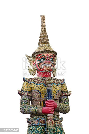 Red giant demon guarding statue on white isolated  background.