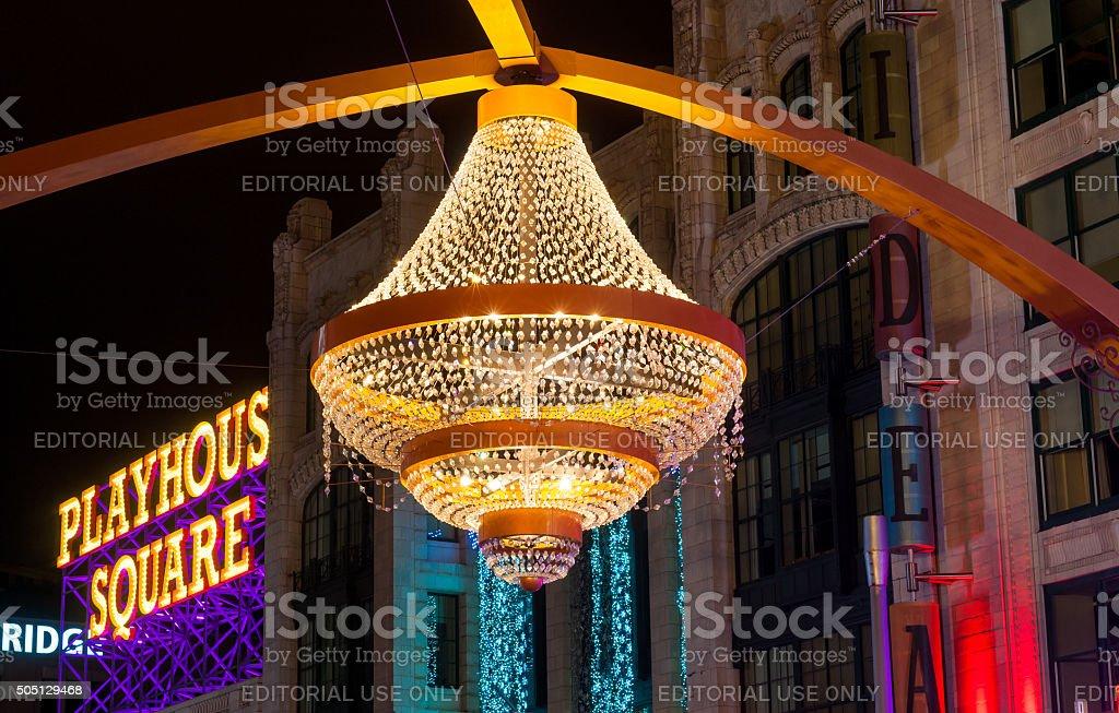 Giant outdoor chandelier stock photo