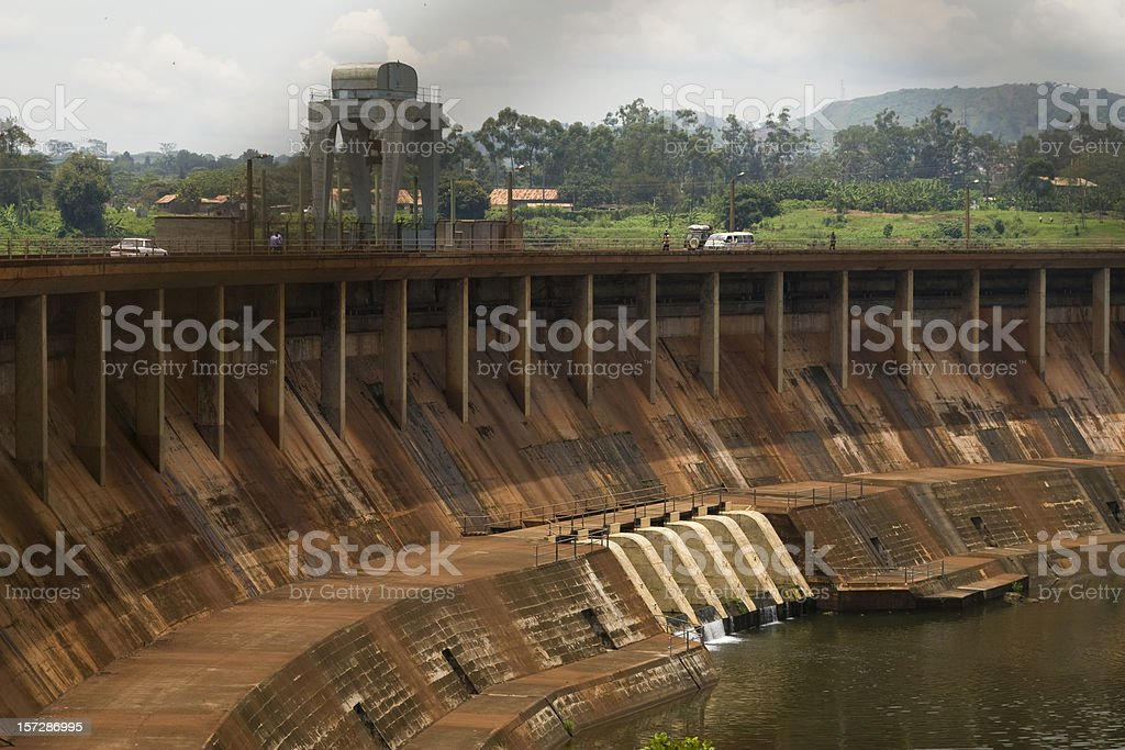 Giant Owen Falls Dam in the river Nile stock photo