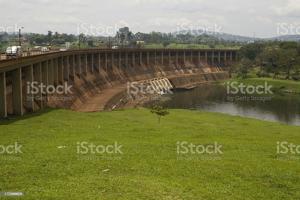 Giant Owen Falls Dam in the river Nile royalty-free stock photo