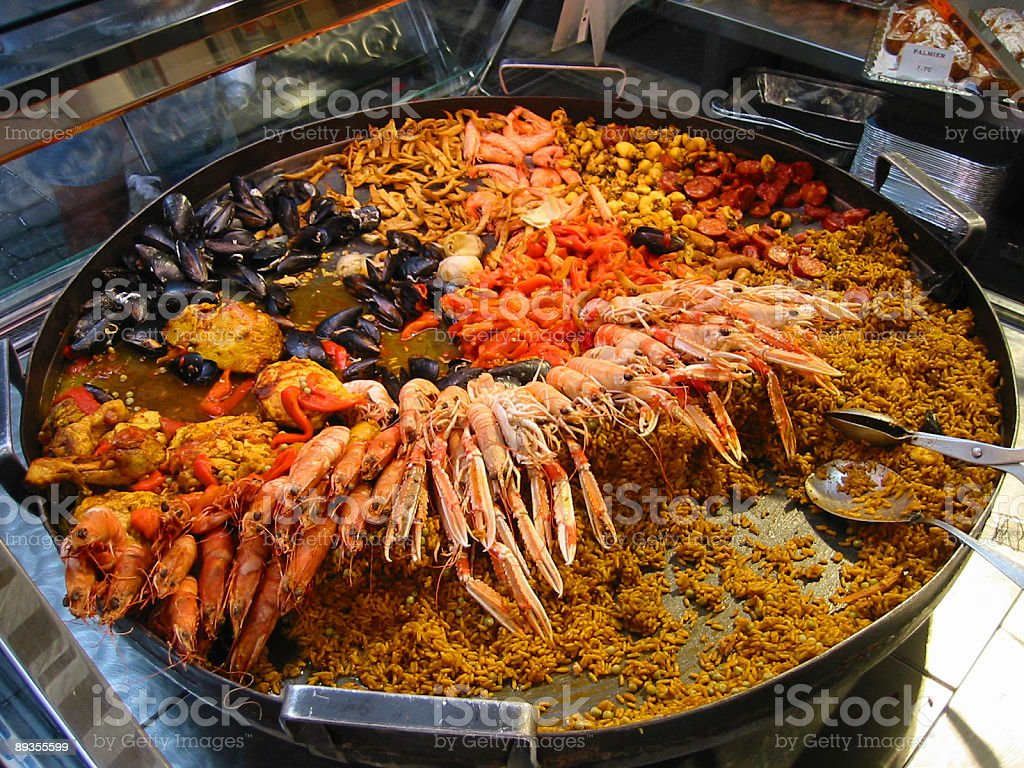 Giant paella on a market​​​ foto