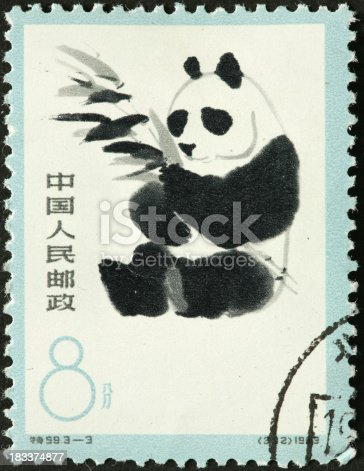 giant panda eating bamboo on a Chinese stamp
