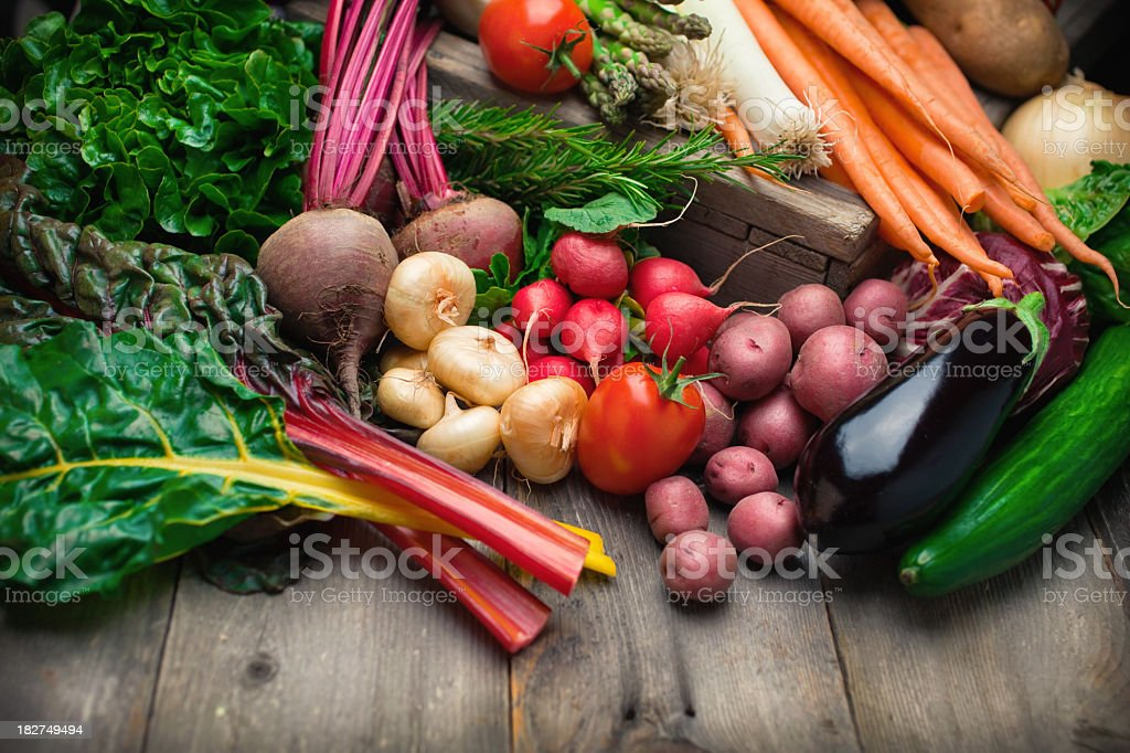 A giant pile of organic vegetables stock photo