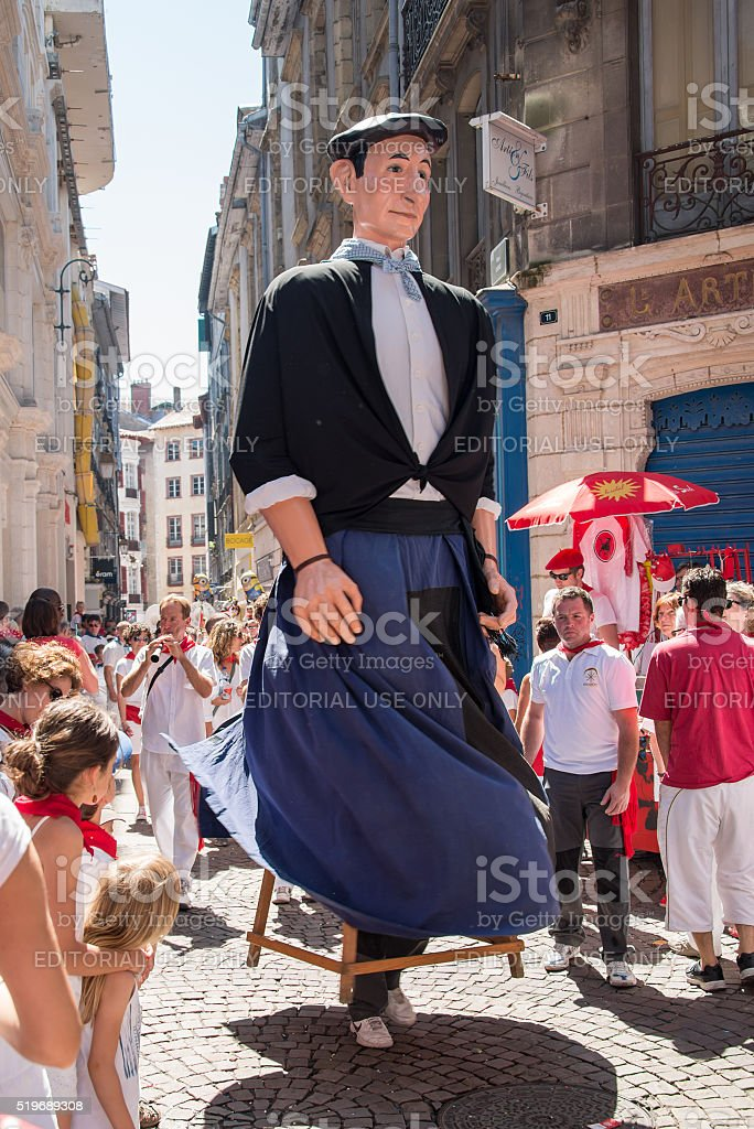 Giant puppets in Bayonne at the Summer festival stock photo