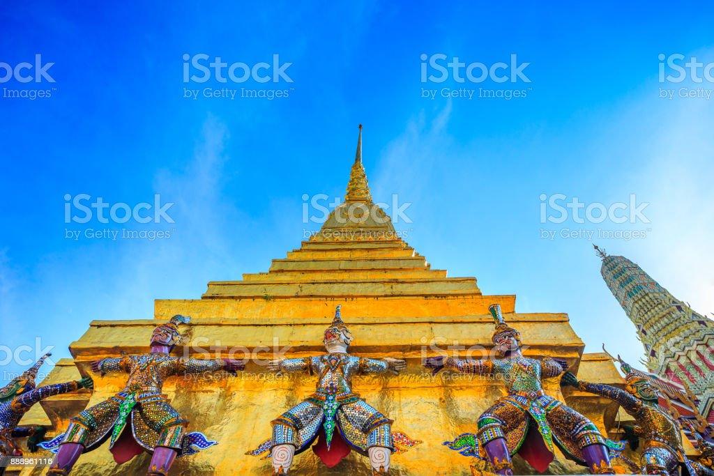 Giant Ravana beautiful pagoda stock photo