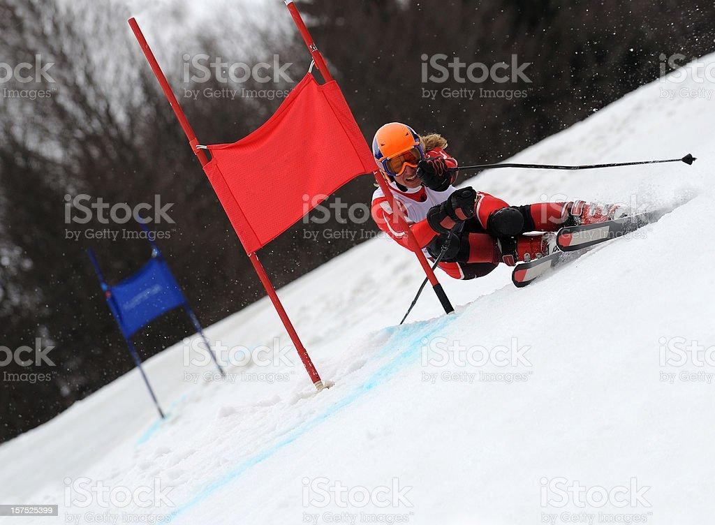 Giant slalom competition stock photo