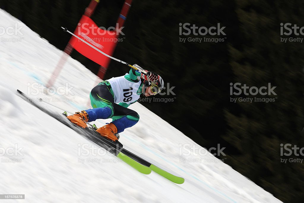 Giant slalom competitor at full speed stock photo