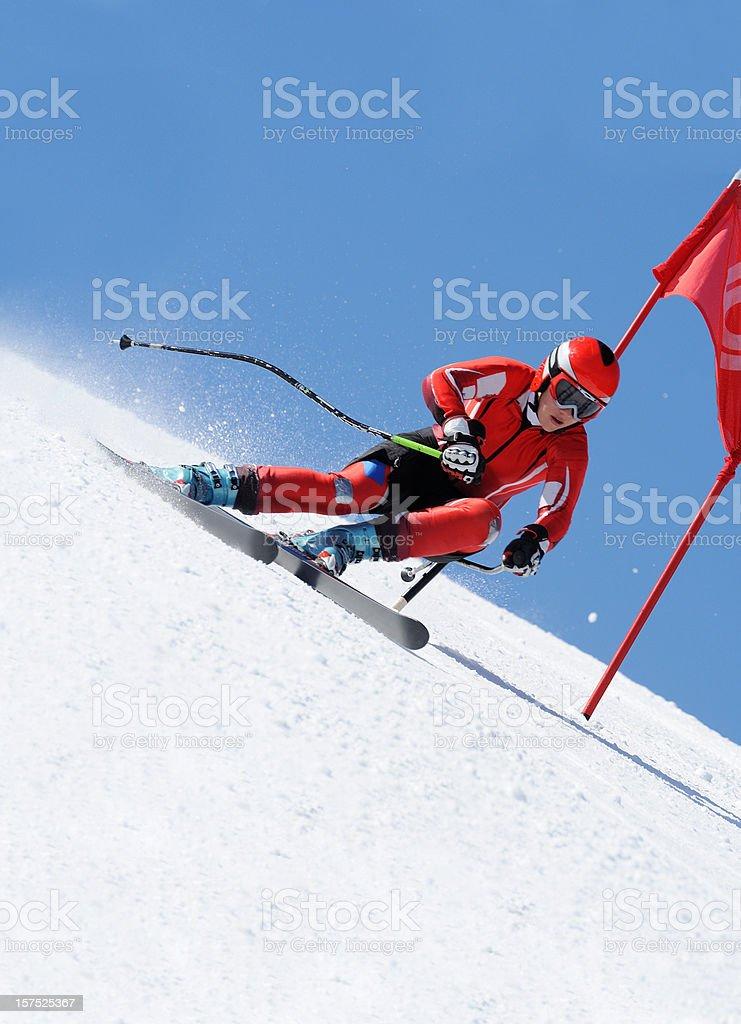 Giant slalom practice stock photo