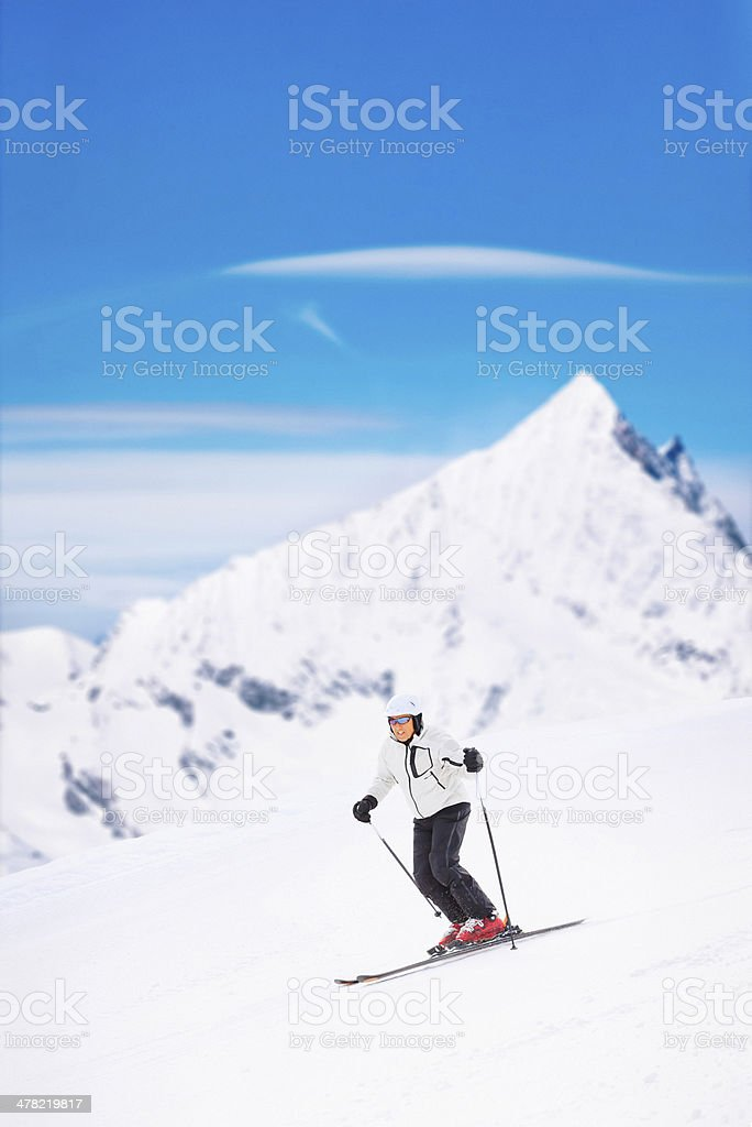 Giant slalom race - Snow Skiing stock photo