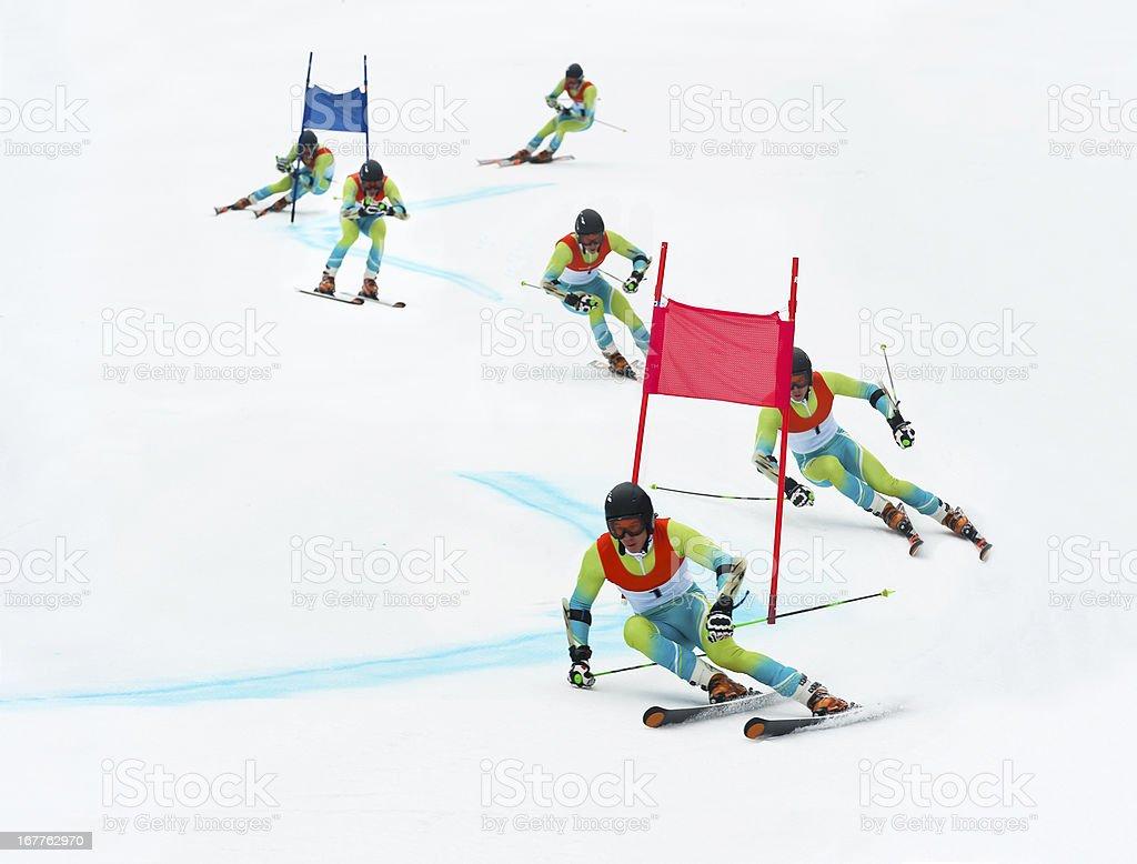 Giant slalom skier stock photo