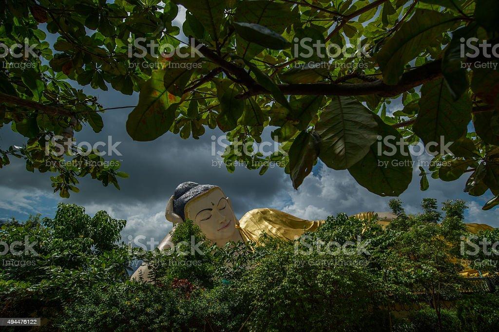 Giant sleeping Buddha Bago, myanmar. stock photo