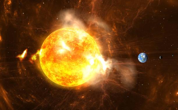 巨大的太陽耀斑。生產超級風暴和巨大的輻射爆發的太陽 - 太陽光 個照片及圖片檔