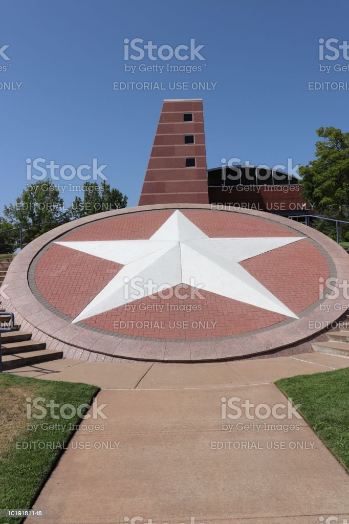 Giant Texas Lone Star at Texas Travel Information Center stock photo