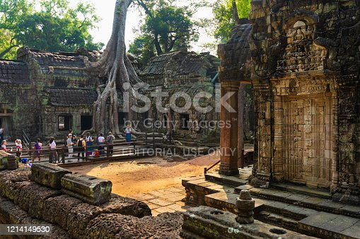 Siem Reap, Cambodia - January 24, 2020: The group of tourists are looking at the giant tree roots that are growing over Ta Prohm Temple, Angkor Wat, Cambodia.