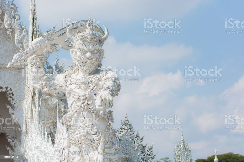 Giant Wat Rong Khun or White temple stock photo