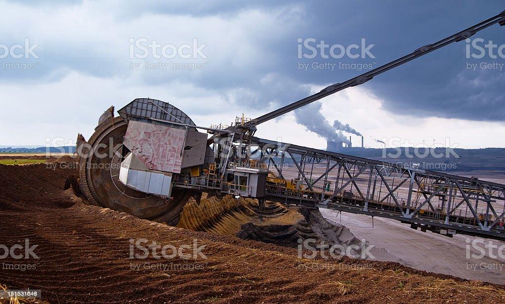 Giant wheel of excavator stock photo