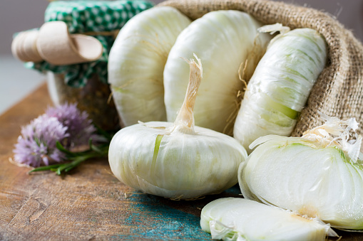 Giant white sweet onions of Sicily, new harvest