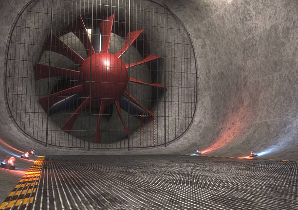 Giant Wind Tunnel Giant wind tunnel with steel floor, tracks and safety lights. 3D concept image. aerodynamic stock pictures, royalty-free photos & images