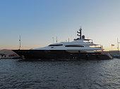 Saint-tropez, France - august 9 2017 A giant yacht moored at the port of Saint Tropez.