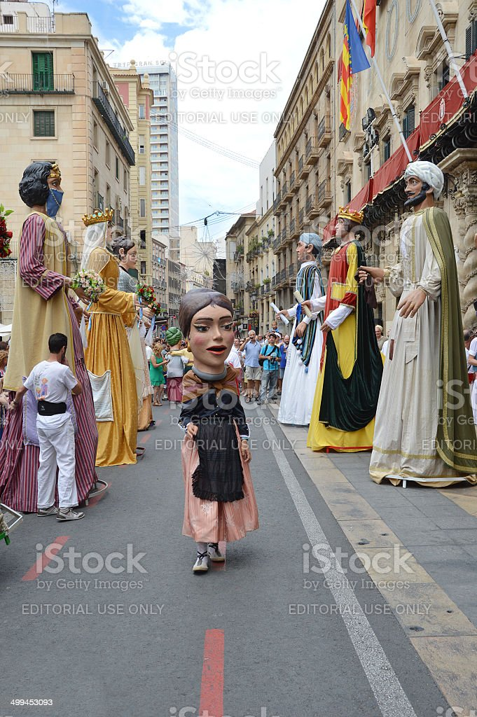 Giants and Bighead Parad Alicante Fogueras stock photo