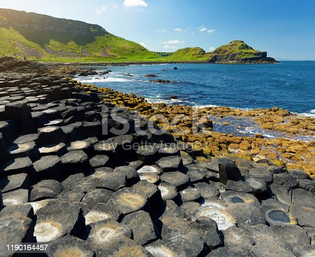 Giants Causeway, an area of hexagonal basalt stones, created by ancient volcanic fissure eruption, County Antrim, Northern Ireland. Famous tourist attraction, UNESCO World Heritage Site.