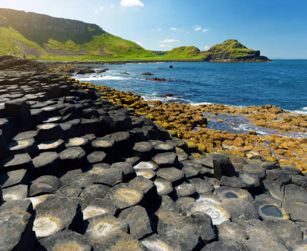 Giants Causeway, an area of hexagonal basalt stones, County Antrim, Northern Ireland. Famous tourist attraction, UNESCO World Heritage Site. stock photo