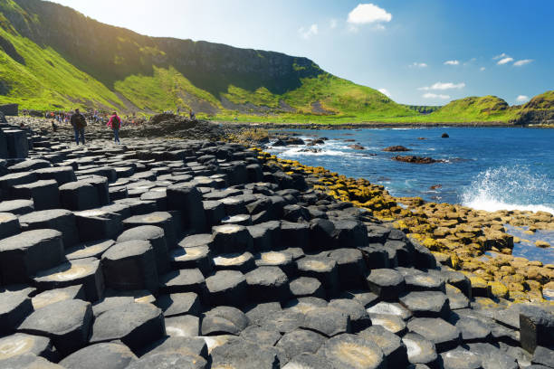 Giants Causeway, an area of hexagonal basalt stones, created by ancient volcanic fissure eruption, County Antrim, Northern Ireland. stock photo