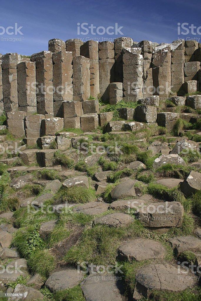 Giants Causeway basalt lava columns in Northern Ireland stock photo