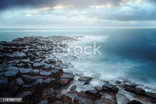 Giant's Causeway on a cloudy day