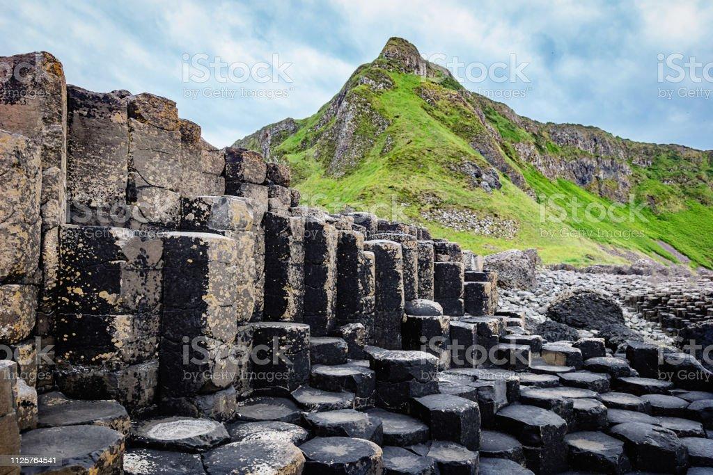 Giants Causeway Hexagonal Rock Formation Northern Ireland stock photo