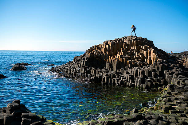 giant's causeway in northern ireland - rocky coastline stock pictures, royalty-free photos & images
