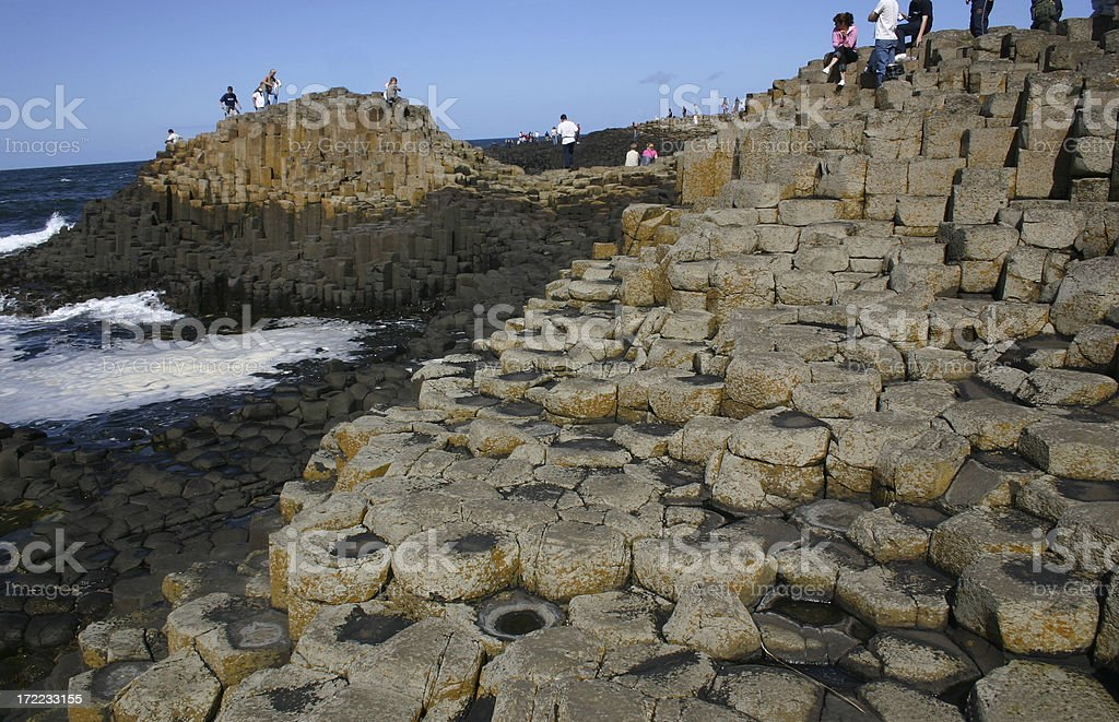 giants causeway, Ireland basalt lava column rock stock photo