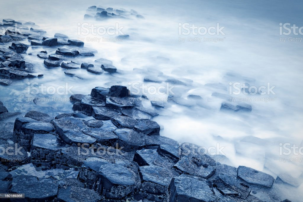 Giant's Causeway long exposure shot stock photo