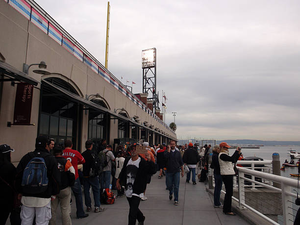 Giants fans line up to get into free section stock photo