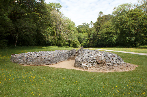 Parc Cwm long cairn, also known as Parc le Breos burial chamber, is a partly restored Neolithic chambered tomb, identified in 1937 as a Severn-Cotswold type of chambered long barrow. The cromlech, a megalithic burial chamber, was built around 5850 years ago.