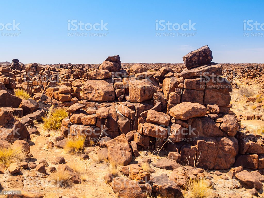 Giant's Playground rock formations near namibian Keetmanshoop stock photo
