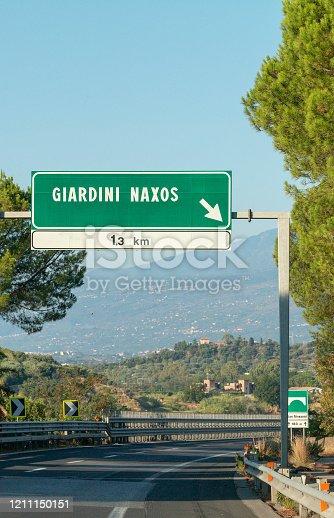 Road sign to Giardini Naxos in Messina Province, Sicily