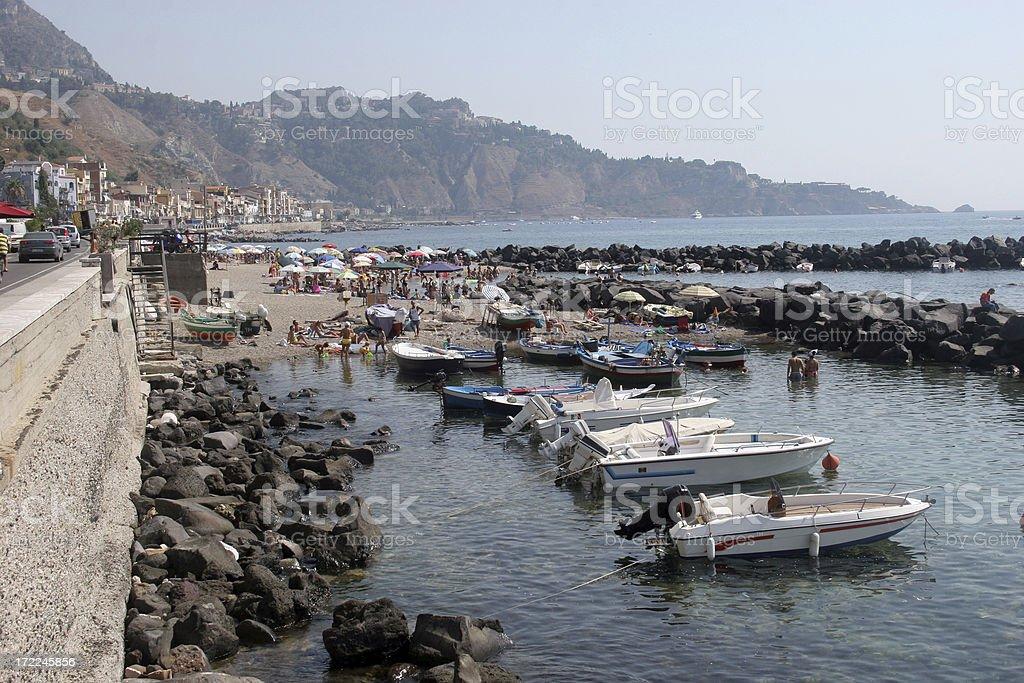 Giardini Naxos shoreline, Italy royalty-free stock photo